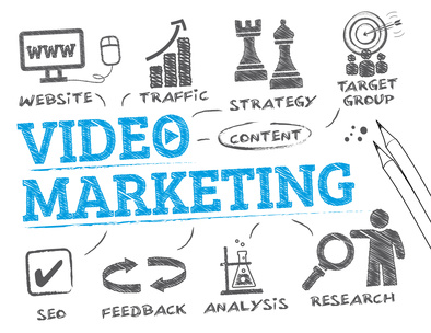 Video Marketing. Chart with keywords and icons