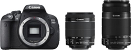 Canon EOS 700D Digital SLR-Kamera (18 Megapixel, 7,6 cm (3 Zoll) Display, Full HD, DIGIC 5) inkl. EF 18-55mm IS STM und EF 55-250mm IS STM Double-Zoom-Kit schwarz - 1
